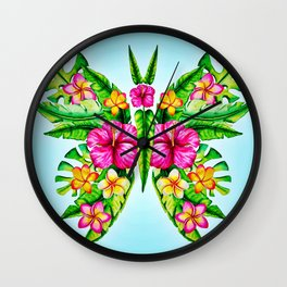 Butterfly Of Tropical Summer Flowers Wall Clock