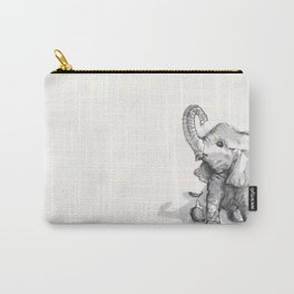tiny elephant sitting in the corner Carry-All Pouch