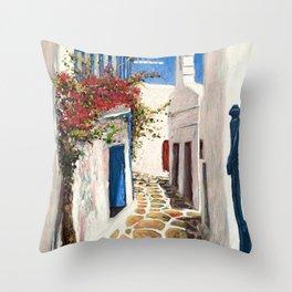 Mykonos Town, Greece Throw Pillow