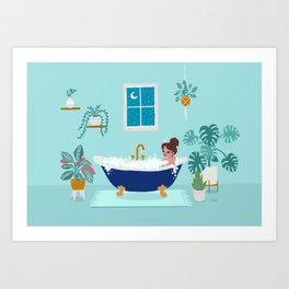 Not Going Out Tonight and that's OK - Blue Art Print