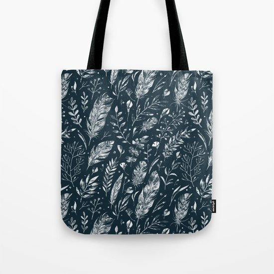 Feathers And Leaves Abstract Pattern Black And White by lavieclaire