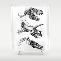 trex Shower Curtains featuring Jurassic Bloom. by Sinpiggyhead