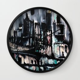 City Scape at Dusk Wall Clock