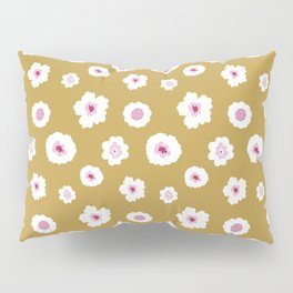 White and pink flowers in yellow Pillow Sham