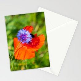Cornflower kisses poppy Stationery Cards