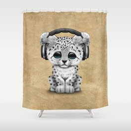 Cute Snow leopard Cub Dj Wearing Headphones Shower Curtain