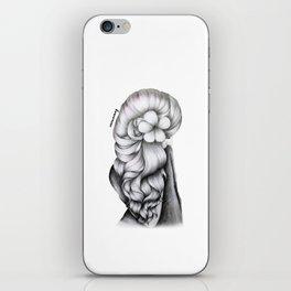 Black & White Pencil Sketch - Wavy Hair Flower Girl iPhone Skin