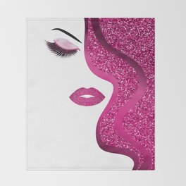 glittery woman Throw Blanket
