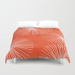 Dandelions in Red by Friztin Duvet Cover