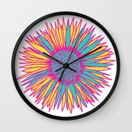 Neon Sunflower Wall Clock