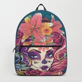 Sugar skull woman in flower crown portrait Backpack