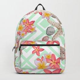 Modern tropical flowers seashells geometric design Backpack