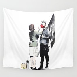 Banksy, Punk with mother Wall Tapestry