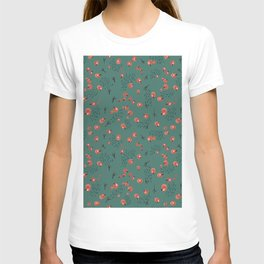 Seamless pattern with red berries and bird tracks on a dark turquoise background. New Year theme. T-shirt