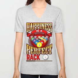 Happiness Is A Perfect Rack Pool Player Billiards Unisex V-Neck