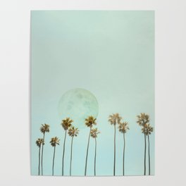 Full Moon Paradiese Beach Palm Trees Poster