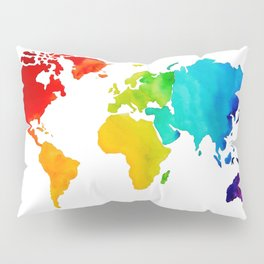 Original Watercolor - Map of The World - Travel Art - Chakra Rainbow Colors Pillow Sham