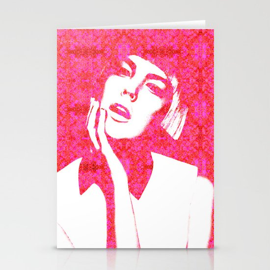 Hot Pink, Agyness Deyn, Fashion Stationery Cards