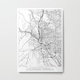 Colorado Springs Map White Metal Print