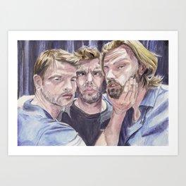 Team Free Will 2.: Misha Collins; Jared Padalecki and Jensen Ackles, watercolor painting Art Print
