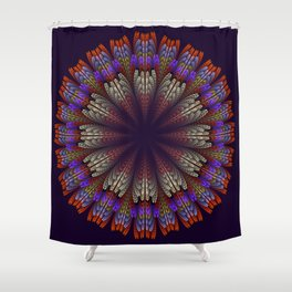 Floral mandala with tribal patterns in the petals Shower Curtain