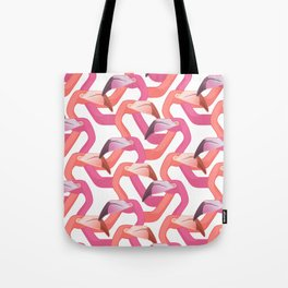 Woven flamingoes on white Tote Bag