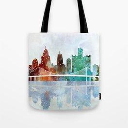 Detroit city skyline - watercolor Tote Bag