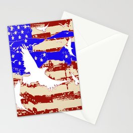 AMERICANA FLAG & WHITE EAGLES FROM  SOCIETY6 BY SHARLESART. Stationery Cards