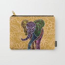 Elephant Floral Batik Art Design Carry-All Pouch