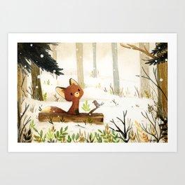 Little fox and winter Art Print