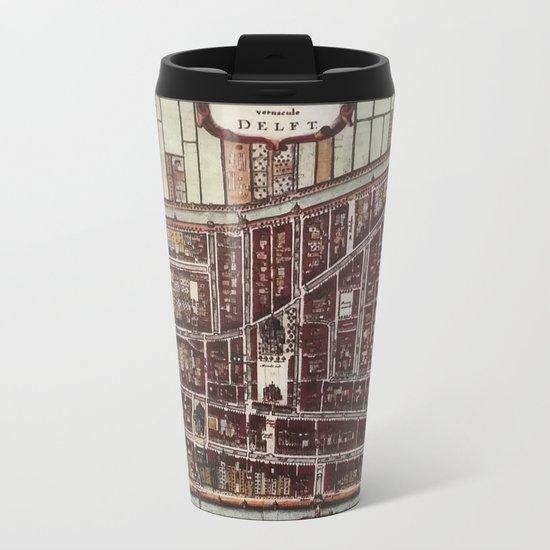 Replica city map of Delft 1649 Metal Travel Mug