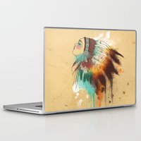 native american Laptop & iPad Skins featuring Native American Girl by TapuTIKI