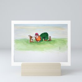 Eye to eye Leprechaun and Rabbit Mini Art Print