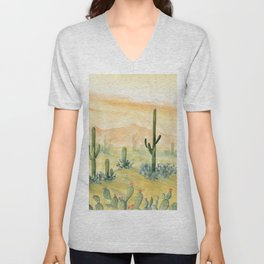 Desert Sunset Landscape Unisex V-Neck
