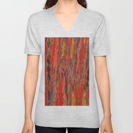 lines of red yellow Unisex V-Neck