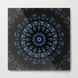 Kaleidoscope crystals in indigo blue on a black background Metal Print