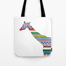 Giraffe with Tribal Pattern Tote Bag