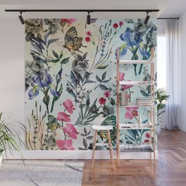 Nature collage with golden dots Wall Mural