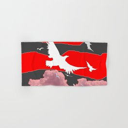 WHITE BIRDS IN FLIGHT RED-GREY SKY ABSTRACT Hand & Bath Towel