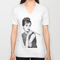audrey V-neck T-shirts featuring Audrey by Olechka