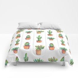 white cactus in orange pockets Comforters