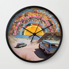 Orange sunset Wall Clock