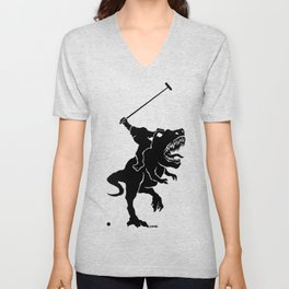 Big foot playing polo on a T-rex Unisex V-Neck
