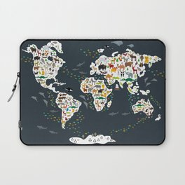 Cartoon animal world map for kids, back to schhool. Animals from all over the world Laptop Sleeve