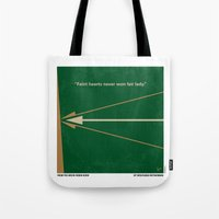robin hood Tote Bags featuring No237 My Robin Hood minimal movie poster by Chungkong