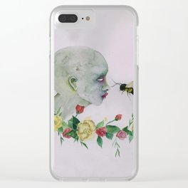 save the bees earth watercolor Clear iPhone Case