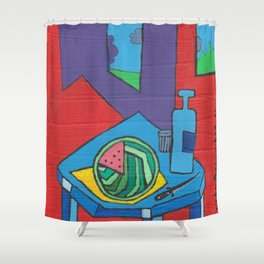Still life with a watermelon, a knife and a bottle. Shower Curtain