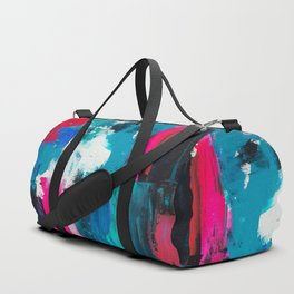 Look on the bright side | neon pink blue brushstrokes abstract acrylic painting Duffle Bag