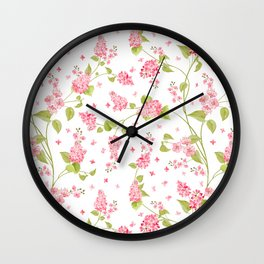 Pink Hydrangea Flower Blooms and Buttercup Flower Blooms on White Wall Clock