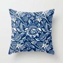 William Morris Sunflowers, Dark Blue and White Throw Pillow